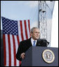 President George W. Bush addresses his remarks in honor of Veteran's Day Tuesday, Nov. 11, 2008, at the rededication ceremony of the Intrepid Sea, Air and Space Museum in New York. White House photo by Eric Draper