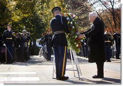 Vice President Dick Cheney places a wreath at the Tomb of the Unknowns Tuesday, Nov. 11, 2008, during Veterans Day ceremonies at Arlington National Cemetery in Arlington, Va.  White House photo by David Bohrer