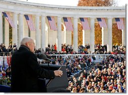Vice President Dick Cheney delivers remarks Tuesday, Nov. 11, 2008, during the 55th Annual National Veterans Day Observance at Arlington National Cemetery in Arlington, Va.  White House photo by David Bohrer