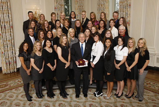 President George W. Bush poses with members of the Arizona State University Women's Softball Team Wednesday, Nov. 12, 2008, during a photo opportunity with 2008 NCAA Sports Champions at the White House. White House photo by Eric Draper