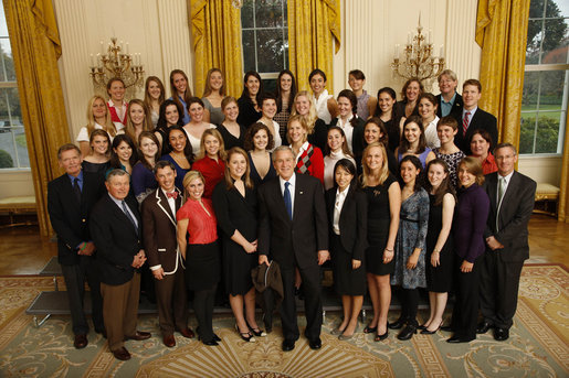 President George W. Bush poses with members of the Brown University Women's Rowing Team Wednesday, Nov. 12, 2008, during a photo opportunity with 2008 NCAA Sports Champions at the White House. White House photo by Eric Draper