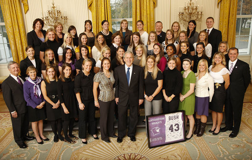 President George W. Bush poses with members of the Northwestern University Women's Lacrosse Team Wednesday, Nov. 12, 2008, during a photo opportunity with 2008 NCAA Sports Champions at the White House. White House photo by Eric Draper