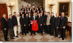President George W. Bush poses with members of the Fresno State Baseball Team Wednesday, Nov. 12, 2008, during a photo opportunity with 2008 NCAA Sports Champions at the White House. White House photo by Eric Draper