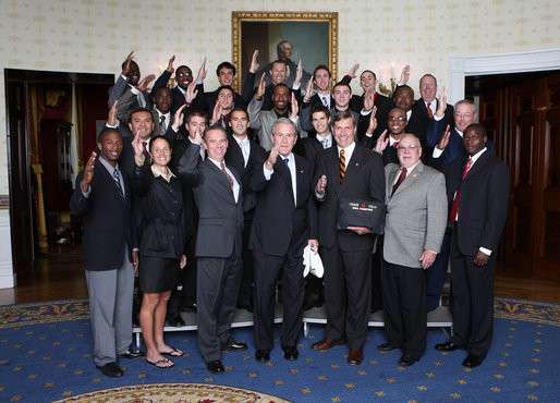 President George W. Bush poses with members of the Florida State University Men's Outdoor Track and Field Team Wednesday, Nov. 12, 2008, during a photo opportunity with 2008 NCAA Sports Champions at the White House. White House photo by Chris Greenberg
