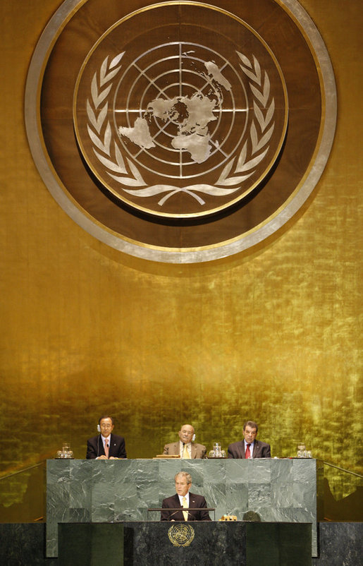 "President George W. Bush addresses his remarks Thursday, Nov. 13. 2008, at the United Nations High-level Debate on Interfaith Dialogue at the United Nations General Assembly in New York. President Bush said religious belief has ""sustained me through the challenges and joys of my presidency."" White House photo by Eric Draper"