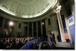 President George W. Bush addresses his remarks on financial markets and the world economy Thursday, Nov. 13, 2008, at the Federal Hall National Memorial in New York.  White House photo by Eric Draper