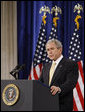 "President George W. Bush addresses his remarks on financial markets and the world economy Thursday, Nov. 13, 2008, at the Federal Hall National Memorial in New York. President Bush said, ""While reforms in the financial sector are essential, the long-term solution to today's problems is sustained economic growth. And the surest path to that growth is free markets and free people."" White House photo by Eric Draper"