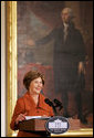 "Mrs. Laura Bush delivers remarks during the Coming Up Taller Awards Friday, Nov. 14, 2008, in the East Room of the White House. Mrs. Bush stated during her remarks, ""Congratulations to all the recipients of the 2008 Coming Up Taller Awards! Because of the programs you represent, young people are building the confidence to paint, dance, speak, sing and in every one of their communities, to walk taller. Thank you all very, very much."" White House photo by Joyce N. Boghosian"
