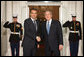 President George W. Bush greets Spain's President Jose Luis Rodriquez Zapatero Friday, Nov. 14, 2008, upon his arrival for dinner with Summit on Financial Markets and World Economy Leaders at the White House. White House photo by Chris Greenberg