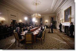 "President George W. Bush offers a toast Friday, Nov. 14, 2008, at dinner with Summit on Financial Markets and World Economy participants in the State Dining Room of the White House. ""In the State Dining Room tonight are representatives of major industrialized economies, some of the largest developing economies, and key international financial institutions. We are here because we share a concern about the impact of the global financial crisis on the people of our nations. We share a determination to fix the problems that led to this turmoil. We share a conviction that by working together, we can restore the global economy to the path of long-term prosperity."" White House photo by Eric Draper"