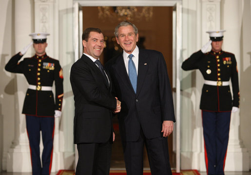 President George W. Bush greets Russian Federation President Dmitriy Medvedev Friday, Nov. 14, 2008, upon his arrival for dinner with Summit on Financial Markets and World Economy Leaders at the White House. White House photo by Chris Greenberg