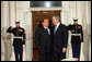President George W. Bush greets Italy's Prime Minister Silvio Berlisconi Friday, Nov. 14, 2008, upon his arrival for dinner with Summit on Financial Markets and the World Economy Leaders at the White House White House photo by Chris Greenberg