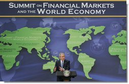 "President George W. Bush delivers his remarks following the conclusion of the Summit with Financial Markets and the World Economy Leaders Saturday, Nov. 15, 2008, at the National Building Museum in Washington, D.C. President Bush stated in his remarks, ""The United States, in the midst of this financial crisis, will not abandon our commitments to people in the developing world."" White House photo by Joyce N. Boghosian"