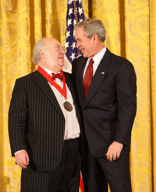 President George W. Bush congratulates Myron Magnet, editor of the City Journal of New York, as a recipient of the 2008 National Humanities Medal in ceremonies Monday, Nov. 17, 2008 at the White House. White House photo by Chris Greenberg