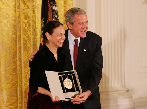 President George W. Bush congratulates Carla Maxwell, artistic director of the Jose Limon Dance Foundation of New York, as a recipient of the 2008 National Medal of Arts in ceremonies Monday, Nov. 17, 2008 at the White House. White House photo by Joyce N. Boghosian