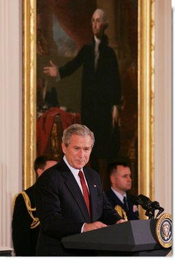 President George W. Bush welcomes the award recipients to the presentation of the 2008 National Medal of Arts and 2008 National Humanities Medal, honoring those for their outstanding contributions to the arts, and the preservation and education of the humanities in America. White House photo by Joyce N. Boghosian