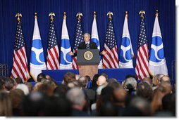 "President George W. Bush gestures as he addresses his remarks at the U.S. Transportation Department in Washington, D.C., Tuesday, Nov. 18, 2008, where Preident Bush announced an expansion of the U.S. airpspace for civilian flights, the ""Thanksgiving Express Lanes,"" to now include areas of the Midwest, Southwest and the West Coast to reduce holiday airline delays and to also boost flight capacity at some of America's busiest airports.  White House photo by Chris Greenberg"