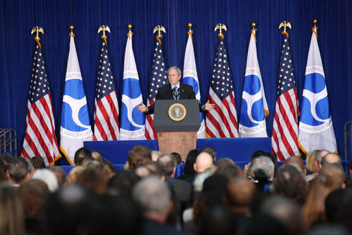 "President George W. Bush gestures as he addresses his remarks at the U.S. Transportation Department in Washington, D.C., Tuesday, Nov. 18, 2008, where President Bush announced an expansion of the U.S. airspace for civilian flights, the ""Thanksgiving Express Lanes,"" to now include areas of the Midwest, Southwest and the West Coast to reduce holiday airline delays and to also boost flight capacity at some of America's busiest airports. White House photo by Chris Greenberg"