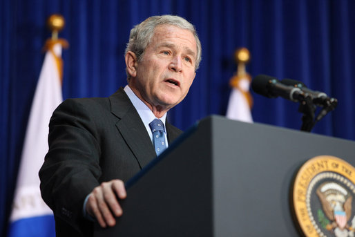 "President George W. Bush addresses his remarks at the U.S. Transportation Department in Washington, D.C., Tuesday, Nov. 18, 2008, where President Bush announced an expansion of the U.S. airspace for civilian flights, the ""Thanksgiving Express Lanes,"" to now include areas of the Midwest, Southwest and the West Coast to reduce holiday airline delays. White House photo by Chris Greenberg"