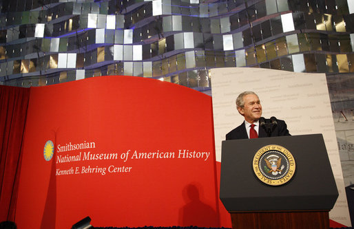 President George W. Bush delivers remarks Wednesday, Nov. 19, 2008, in honor of the reopening of the National Museum of American History in Washington, D.C. White House photo by Eric Draper
