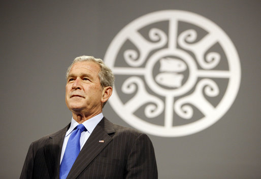 President George W. Bush is introduced Saturday, Nov. 22, 2008, to the APEC CEO Summit 2008 at the Ministry of Defense Convention Center in Lima, Peru. White House photo by Eric Draper