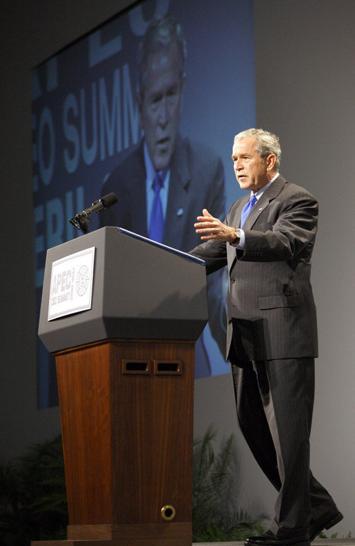 "President George W. Bush addresses the APEC CEO Summit 2008 Saturday, Nov. 22, 2008, at the Ministry of Defense Convention Center in Lima, Peru. The President told his audience, ""I believe it is important for the world to recognize, and for our country to recognize, that the United States is a Pacific nation. And over the past eight years. I made APEC a priority."" White House photo by Eric Draper"