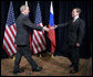 President George W. Bush greets President Dmitriy Medvedev of Russia prior to their meeting Saturday, Nov. 22, 2008, at the Ministry of Defense Convention Center in Lima, Peru. White House photo by Eric Draper