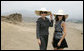 Mrs. Laura Bush and Ms. Barbara Bush stand inside the Pachacamac Archaeological Site in Lurin, Peru, Saturday, Nov. 22, 2008, during a tour of the ruins as part of the APEC Spouses Program. The Pachacamac site is a complex of adobe pyramids in the Lurin valley, on Peru's central coast, and dates from AD 200. White House photo by Joyce N. Boghosian