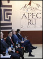 President George W. Bush participates in the APEC leaders second retreat Sunday, Nov. 23, 2008, at the 2008 APEC Summit in Lima, Peru. White House photo by Eric Draper