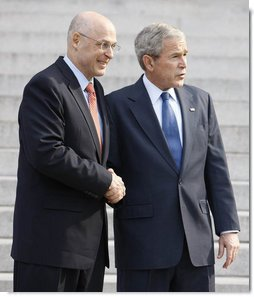 "President George W. Bush and Secretary Henry Paulson of the U.S. Department of Treasury, pause for questions after their meeting Monday, Nov. 24, 2008, at the Treasury Department. Said the President, ""Secretary Paulson is working closely with the President-elect's transition team. It's important for the American people to know that there is close cooperation. It's important for the American people to know that we will safeguard the financial system as the first step necessary for financial -- or for economic recovery. And so, Mr. Secretary, thanks for your hard work."" White House photo by Eric Draper"