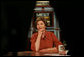 "Mrs. Laura Bush is framed by equipment on the set of ""Meet the Press"" as she joins NBC host Tom Brokaw for the Sunday, Nov. 30, 2008, edition of the weekly TV show at the NBC studios in Washington, D.C. White House photo by Joyce N. Boghosian"