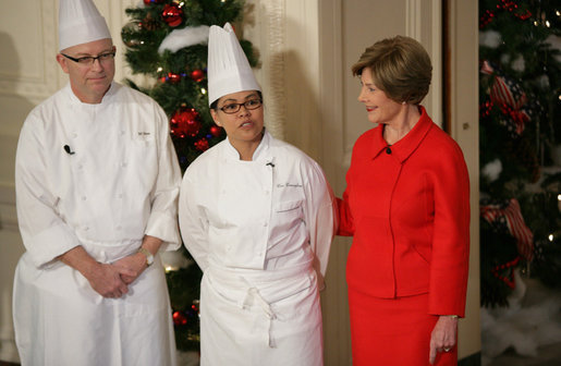 "Mrs. Laura Bush is joined by White House Executive Chef Cris Comerford, and Bill Yosses, White House Pastry Chef, during the 2008 White House Holiday Press Preview Wednesday, Dec. 3., 2008, in the East Room. Said Mrs. Bush, ""This is a special holiday for us. our final in the White House. Thank you to the American people for their friendship, prayers, and support. The President and I wish you and your families a very happy holiday."" White House photo by Shealah Craighead"