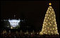 The National Christmas Tree shines brightly as it is lit Thursday, Dec. 4, 2008, during the 2008 Lighting of the National Christmas Tree Ceremony on the Ellipse in Washington, D.C. White House photo by Chris Greenberg