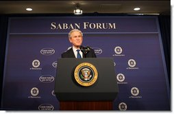 President George W. Bush addresses his remarks at The Saban Forum 2008 for Middle East Policy, Friday, Dec. 5, 2008, at the Newseum in Washington, D.C.  White House photo by Chris Greenberg