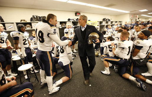 President George W. Bush shakes the hand of Navy outside linebacker Craig Schaefer of Fairfax, Va., prior to the start Saturday, Dec. 6, 2008, of the 2008 Army-Navy game at Lincoln Financial Field in Philadelphia. White House photo by Eric Draper