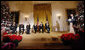 President George W. Bush introduces 2008 Kennedy Center Honoree George Jones, second from left, Sunday, Dec. 7, 2008, during the Kennedy Center Gala Reception in the East Room at the White House. Jones is applauded by fellow honorees, from left, Morgan Freeman, Barbra Streisand, Twyla Tharp, Roger Daltrey and Pete Townshend  White House photo by Eric Draper