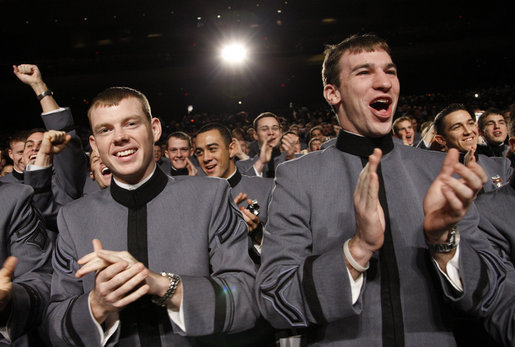 President George W. Bush is cheered and applauded by cadets Tuesday, Dec. 9, 2008, as he is introduced on stage at the United States Military Academy in West Point, N.Y. White House photo by Eric Draper