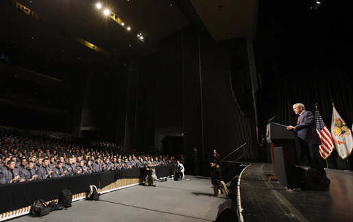 President George W. Bush addresses his remarks to West Point cadets Tuesday, Dec, 9, 2008 in Eisenhower Hall, at the United States Military Academy in West Point, N.Y. White House photo by Eric Draper