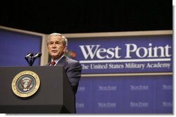 President George W. Bush addresses his remarks to West Point cadets Tuesday, Dec, 9, 2008, at the United States Military Academy in West Point, N.Y.  White House photo by Eric Draper