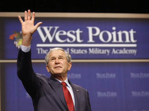 President George W. Bush waves to cadets as he concludes his remarks Tuesday, Dec. 9, 2008, at the United States Military Academy in West Point, N.Y. White House photo by Eric Draper