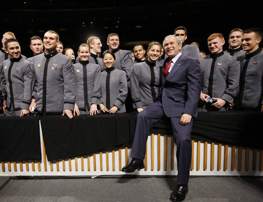 President George W. Bush poses for photos with cadets Tuesday, Dec. 9, 2008, at the United States Military Academy in West Point, N.Y. White House photo by Eric Draper