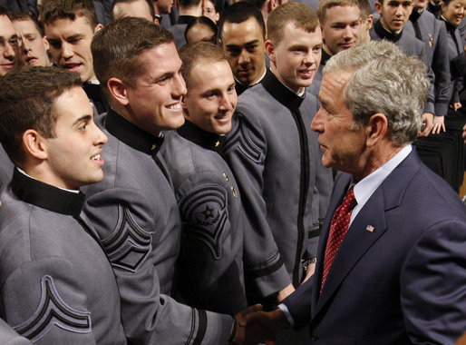 President George W. Bush greets West Point cadets folllowing his address Tuesday, Dec. 9, 2008, at the United States Military Academy in West Point, N.Y. White House photo by Eric Draper