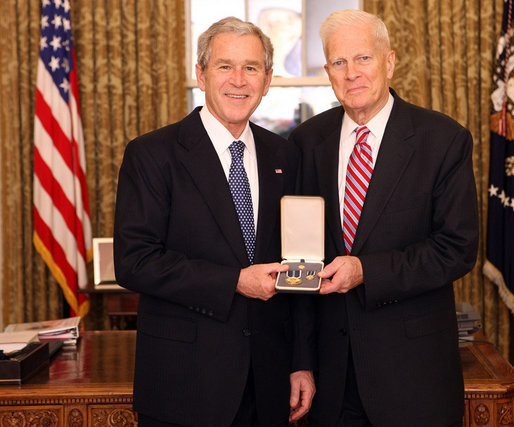 President George W. Bush stands with James Billington after presenting him with the 2008 Presidential Citizens Medal Wednesday, Dec. 10, 2008, in the Oval Office of the White House. White House photo by Chris Greenberg