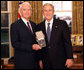 President George W. Bush stands with Don Powell after presenting him with the 2008 Presidential Citizens Medal Wednesday, Dec. 10, 2008, in the Oval Office of the White House. White House photo by Chris Greenberg