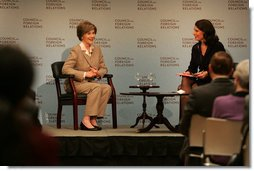 "Photo.Mrs. Laura Bush is welcomed Wednesday, Dec. 10, 2008, to a question and answer session at the Council on Foreign Relations in New York City by moderator Kathryn ""Kitty"" Pilgrim, right, of CNN. Mrs. Bush delivered an opening statement on the 60th anniversary of the Universal Declaration of Human Rights and discussed the human rights of women.  White House photo by Joyce N. Boghosian"