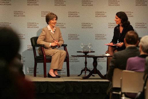 "Mrs. Laura Bush is welcomed Wednesday, Dec. 10, 2008, to a question and answer session at the Council on Foreign Relations in New York City by moderator Kathryn ""Kitty"" Pilgrim, right, of CNN. Mrs. Bush delivered an opening statement on the 60th anniversary of the Universal Declaration of Human Rights and discussed the human rights of women. White House photo by Joyce N. Boghosian"