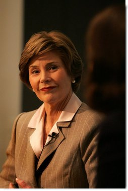 Mrs. Laura Bush discusses the serious global situation for women Wednesday, Dec. 10, 2008, at the Council on Foreign Relations in New York City. Mrs. Bush's visit was to highlight Human Rights Day and to deliver an opening statement on the 60th anniversary of the Universal Declaration of Human rights and discussed human rights of women.  White House photo by Joyce N. Boghosian