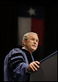 President George W. Bush addresses the graduates Friday, Dec. 12, 2008, during commencement exercises at Texas A&M University in College Station, Texas. White House photo by Eric Draper