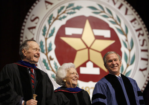 President George W. Bush smiles with his parents, former President George H.W. Bush, left, and former first lady Barbara Bush following his commencement address at Texas A&M University's winter convocation Friday, Dec. 12, 2008, in College Station, Texas. White House photo by Eric Draper