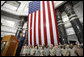 President George W. Bush addresses U.S.military and diplomatic personnel Sunday, Dec, 14, 2008, at the Al Faw Palace-Camp Victory in Baghdad, following his meetings with Iraqi leaders and the signing of strategic and security agreements. White House photo by Eric Draper